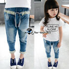 2015 Spring Baby Girls Child Kids Wrist Floral Blue Jeans Pants Trousers 2-7Y
