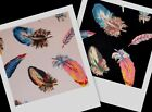 FEATHERS beautiful colorful bird feather fabric BTY ~ 2 colors