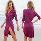 Autumn Fashion Womens Sexy Deep V-neck Side Split Long Sleeve Party Beach Dress