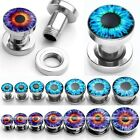 7 Pairs Mix Size Punk Stainless Steel Evil Eye Ear Plug Tunnel Expander Piercing