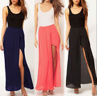 Trendy Charming Ladies Boho Open Side Split Dress Chiffon Long Maxi Skirt  EWUK