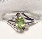 Genuine Faceted Oval Green Peridot .925 Sterling Silver Ring -- PD887