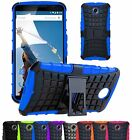 Shock Proof Hard Hybrid Armour Builder Case Cover With Stand For Google Nexus 6