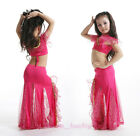 New Kid's Belly Dance Costume Outfit 2 Pics of Blouse Top&Skirt Size S/L 5 color