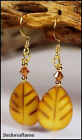 Mother of Pearl dyed Carved Leaf Earrings w-Swarovski Your Choice  0414-0804