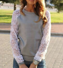Women LACE Splicing Long Sleeve T-Shirt Casual Tops Tee Blouse PLUS SIZE 2Colors