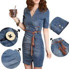 New Women's Fashion  Summer Beach Denim Jean Short Mini Tunic Dress With Belt