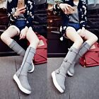 Womens new platfrom round toe zipper sueded buckle strap mid calf boots shoes