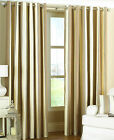 GATSBY Stripe Linen Effect Cotton Rich Eyelet Ring Top Lined Curtains, NATURAL