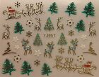 Nail Art 3D Decal Stickers Christmas Tree Reindeer Santa Sleigh Holidays TJ057