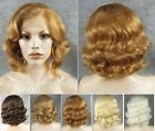 Front lace short brown blonde white heat resistant synthetic hair wig for women