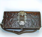 New Trinity Ranch® Tooled Floral Leather Wristlet Wallet w/ Buckle Accent-Coffee