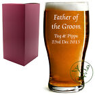 Personalised 1 Pint Tulip Beer Lager Glass Sleever Father of Groom Wedding Gift