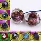 10x Murano Lampwork Glass Foil Flower Abacus Loose Bead For Jewelry Findings DIY