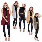 Womens Ladies Sleeveless Crepe Mock Zip Pocket Waistcoat Long Blazer Jacket Top