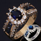 Women's Fashion Ring Size 7 8 9 Blue Sapphire Cz 18K Gold Filled Wedding Rings