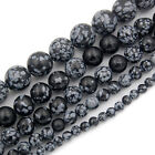 """4mm 6mm 8mm 10mm 12mm Natural Snow Flake Gemstone Round Spacer Loose Beads 15.5"""""""