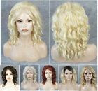 Front lace long wavy golden red brown white synthetic full wig wigs for women