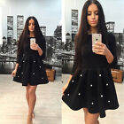 New  Arrival Women Autumn Winter Women Elegant Long Sleeve Space Cotton Dress