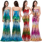 COLORED Sequin Long Wedding Formal Ball Gown Evening Bridesmaid Party Prom Dress