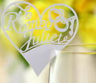 Pearlescent heart wedding favor mark wine glass cards table name card laser cut