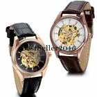 Steampunk Men Auto Mechanical Skeleton Leather Military Sport Army Wrist Watch image
