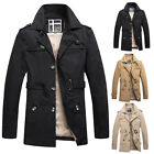 For Adults Mens Cotton Trench Coat Outwear Overcoat Long Military Jacket Parka