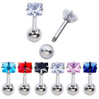 16 CZ Steel Barbell Ear Tragus Cartilage Helix Stud Earring Piercing Punk Gothic