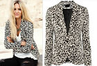 Fashion Womens Long Sleeve One Button Leopard Blazer Casual Jacket Suit Coat