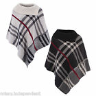 New Winter Womens Long Collar Knitted Check Poncho One Size 8-14 Punchu Top