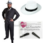 MENS GANGSTER COSTUME WITH WHITE HAT 5 PIECE 1920S FANCY DRESS MAFIA MOER