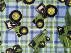 JOHN DEERE tractor plaid on blue : 100% LICENSED cotton : By the 1/2 metre