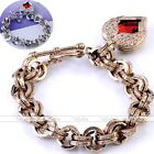 Silvery Golden Dangle Angel Wing Resin Red Heart Toggle Bracelet Rolo Chain Gift