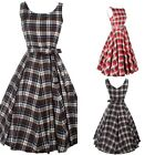 Fashion Women's Sleeveless Grid Lattice Check Ballgown Bubble Skirt Casual Dress