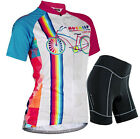 Womens Cycling Bike Bicycle Short Sleeve Breathable Jersey&Shorts Set 3D GEL Pad