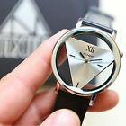 Fashion Women Mens Leather Strap Stainless Steel Sport Analog Quartz Wrist Watch