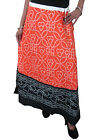 Gypsy Hippy Skirt Orange Black Jaipuri Printed Boho Skirts for Women Long Skirt
