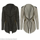 New Womens Long Sleeve PU Faux Leather Trim Front Open Waterfall Jacket Cardigan