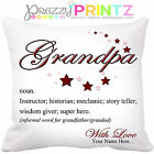 PERSONALISED NOUN GRANDAD CUSHION BIRTHDAY CHRISTMAS GIFT FATHERS DAY GRANDPA