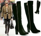 LADIES CHUNKY HIGH HEEL GOLD ZIP KNEE HIGH WINTER BOOTS LYCRA STRETCH