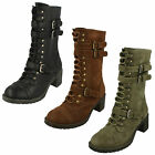 Ladies Spot On Military Style Mid Calf Boots with Straps 3 Colours Style F50166