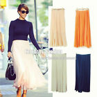 sk64 Celebrity Style Pleated Tulle Maxi Long Skirt