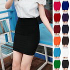 Women Pleated Seamless Stretch Tight Bodycon Mini Skirt Short Pencil Dress 1