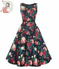 LADY VINTAGE 50's WINTER FLORAL HEPBURN DRESS BLACK
