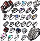 Stainless Steel Rings Black Gold Zircon Wedding Rings For Lover SZ 6 to 9 CA