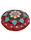 Handmade Ethnic Round Ottoman Pouf Cover Embroidered Floral Vintage PillowCovers