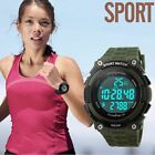 SKMEI 3D Pedometer Waterproof LED Quartz Electronic Army Sports Men Wrist Watch