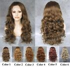 "24""Front lace long loose wave brown blonde red synthetic wig for fashion women"
