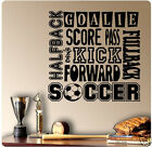 "24"" Soccer Sport Saying Collage Wall Decal Sticker Kick Goalie Score Ball Mural"