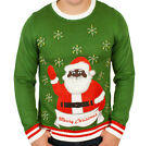 Men's Black Santa with Bells Ugly Christmas Sweater